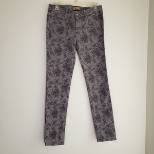 Paige Gray Floral Skinny Jeans